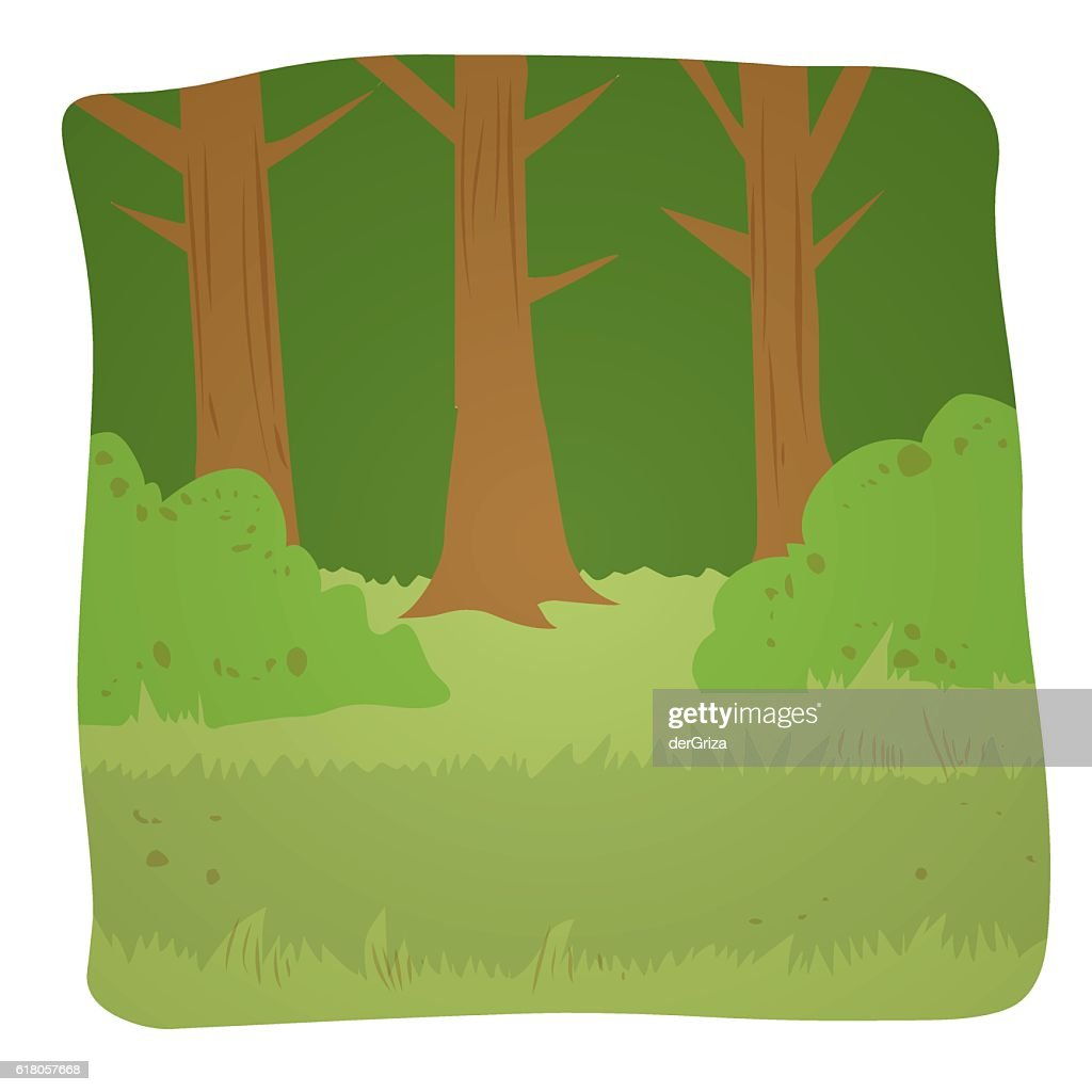Summer forest background. Hand drawn vector illustration.