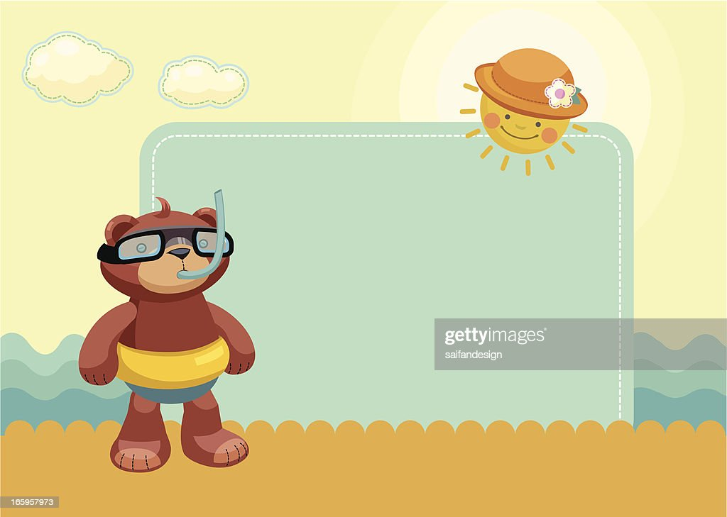 Summer Frame With Teddy Bear Vector Art | Getty Images