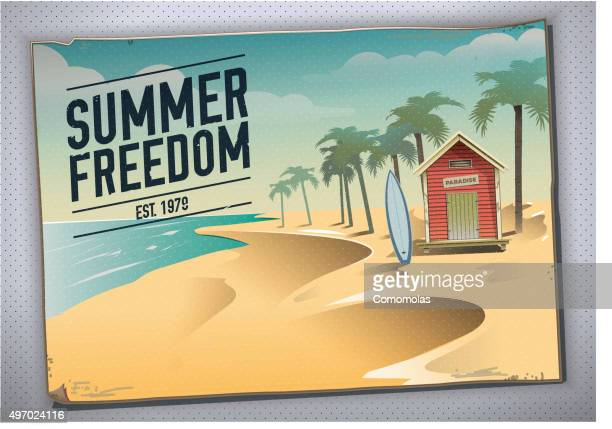 summer freedom. postcard of a beach hut in a paradise - bungalow stock illustrations, clip art, cartoons, & icons