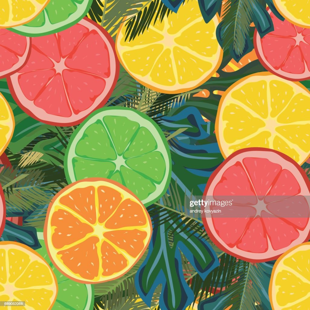 Summer fruits illustration with palms leaves. Pattern for fabric