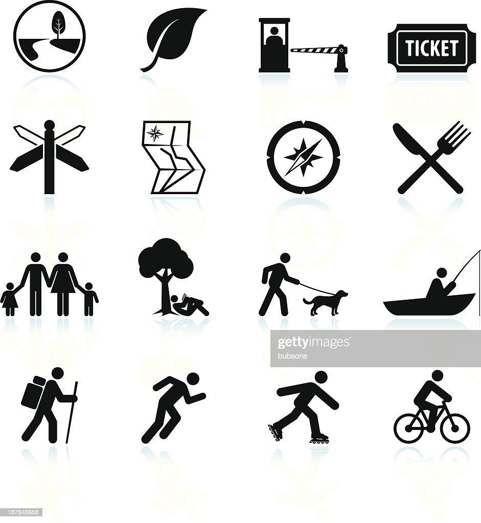 Summer fun and outdoor black & white vector icon set : Stock Illustration