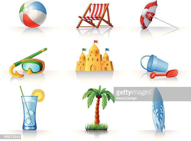 summer fun at the beach icons set - snorkel stock illustrations