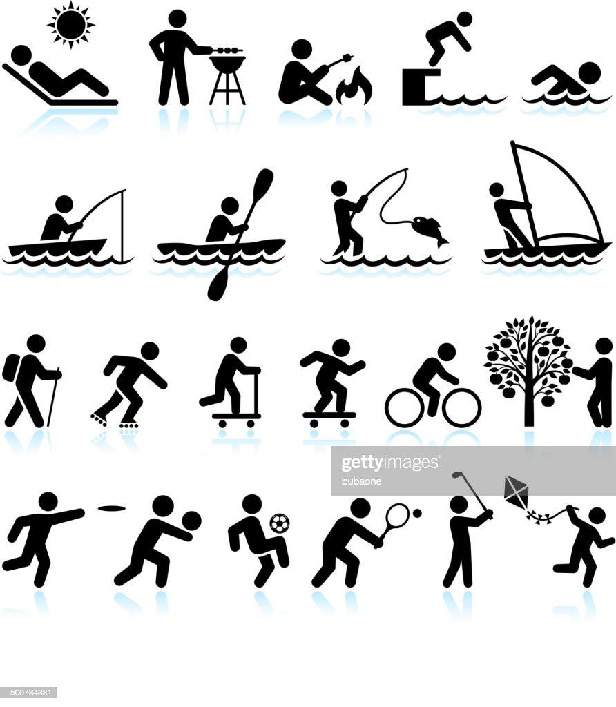 Sommer Spaß Aktivitäten im Freien lizenzfreie vektor icon-set-interface : Stock-Illustration
