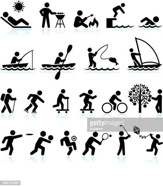 Summer Fun Outdoor Activities royalty free vector interface icon set