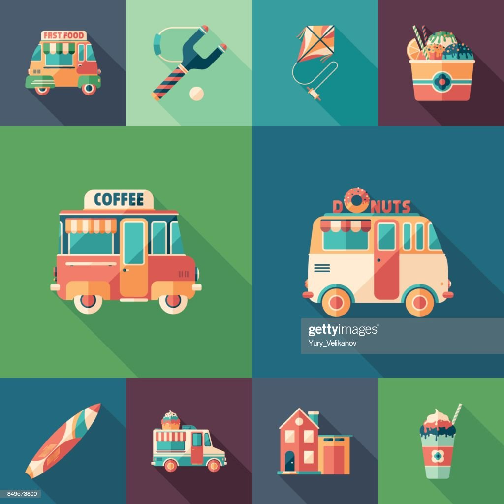 Summer fun set of flat square icons with long shadows.