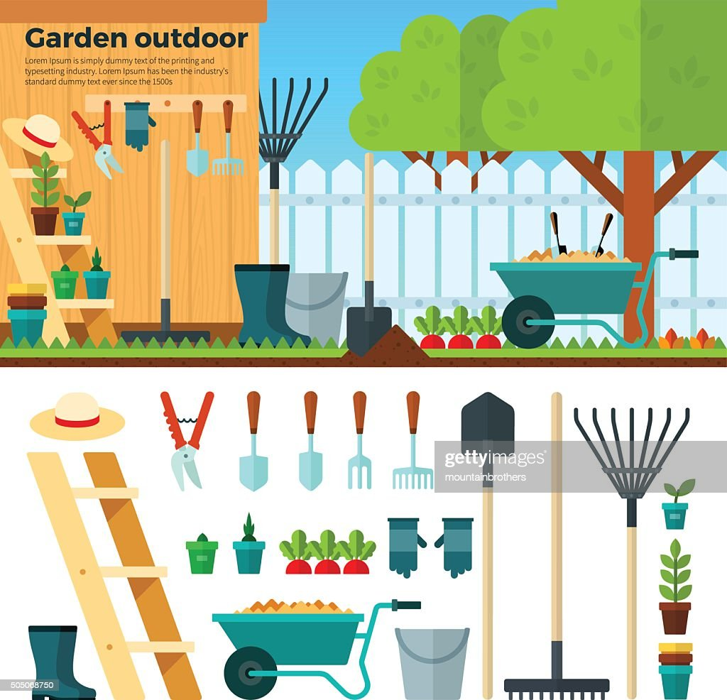 Summer Gardening Landscape in Cartoon Style