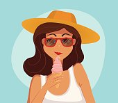 Summer girl eating a ice-cream. Cartoon vector illustration.