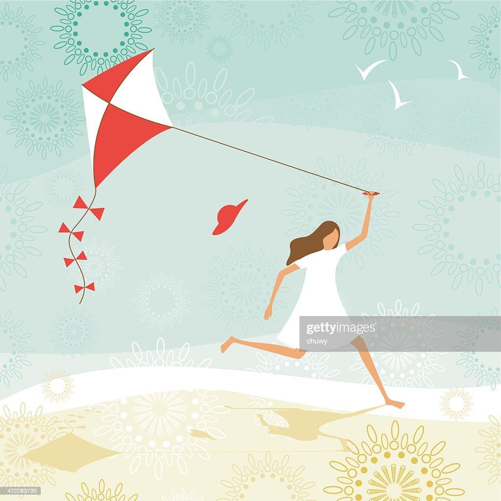 Summer girl flying a kite