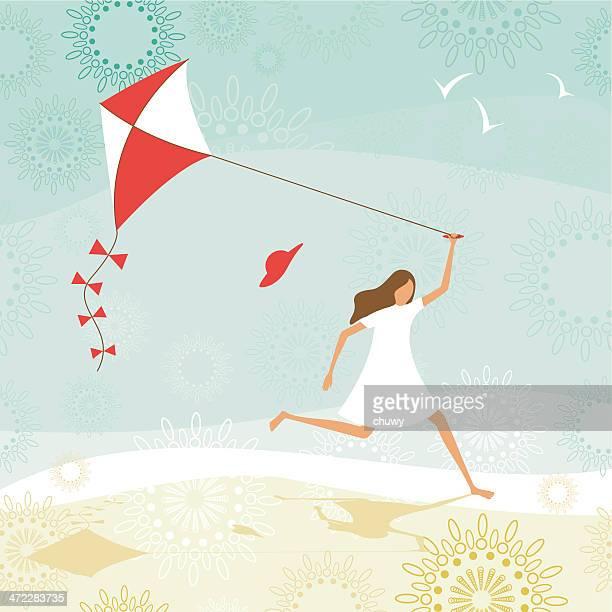 illustrations, cliparts, dessins animés et icônes de summer girl voler un cerf-volant - jeunes filles