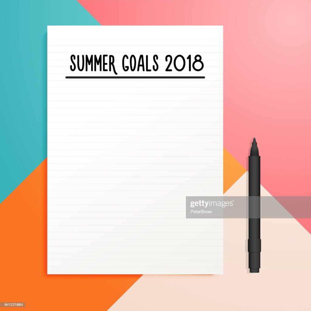 Summer goals 2018 empty list template mockup with copy space. Vector illustration design with copyspace and colorful trendy geometric background.