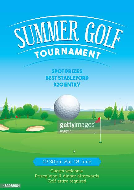 summer golf tournament poster - match sport stock illustrations, clip art, cartoons, & icons