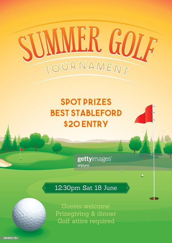 Summer golf tournament poster : stock illustration