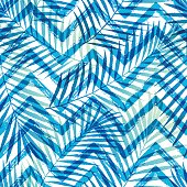 Summer gradient tropical palm tree leaves with ZigZag seamless pattern. Vector grunge design for cards, wallpapers, backgrounds and natural product.