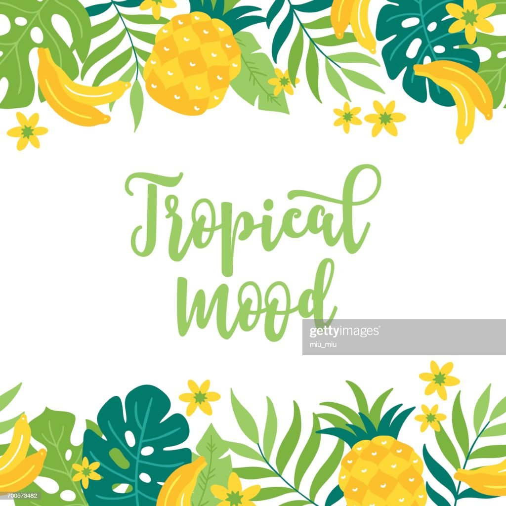 Summer greeting card with pineapple, banana, palm leaves and flowers