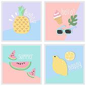 Summer Greeting card,Fruit,Doodle,Design Element