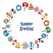 Summer greeting with Japanese summer elements