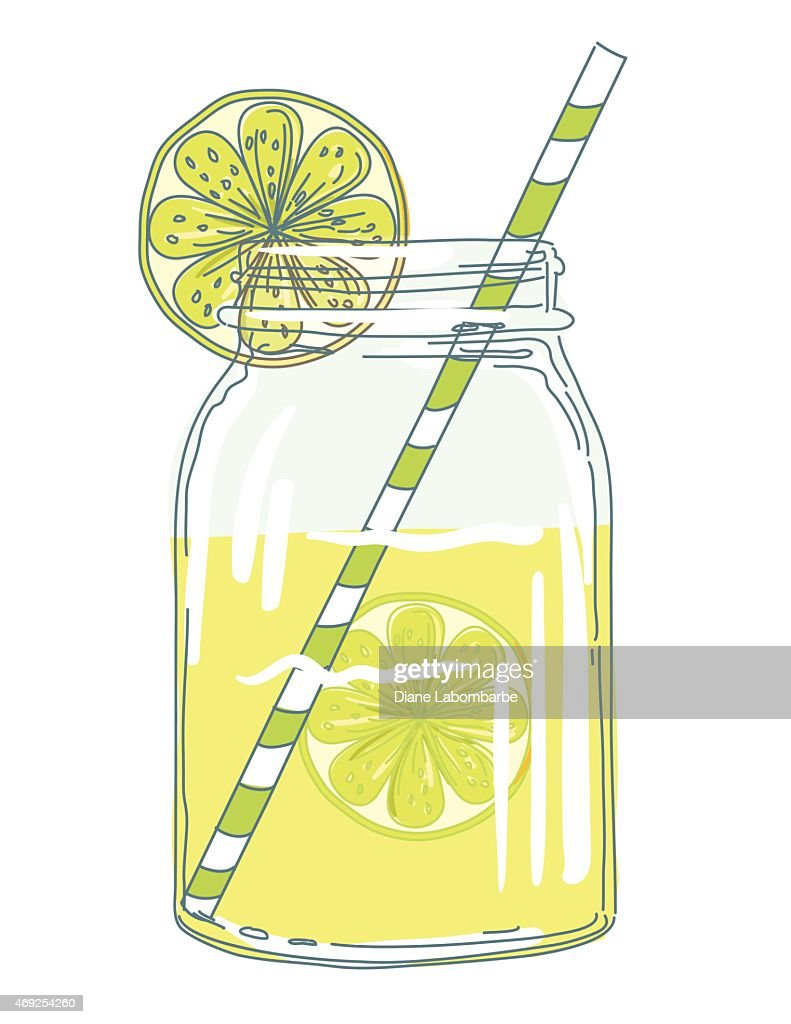 Summer Hand Drawn Mason Jars With Citrus Slices And Lemonade