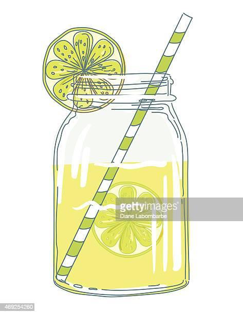 summer hand drawn mason jars with citrus slices and lemonade - lemonade stock illustrations