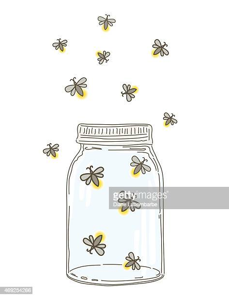 Summer Hand Drawn Mason Jars With Fireflies