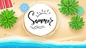 Summer, hand lettering on sun sign. Hand drawn calligraphy and brush lettering. Tropical landscape, ocean, gold sand, beach Mat top view. Template for summer touristic events, travel agency actions