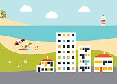 Summer holiday beach with hotels. Flat design vector.