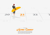 Summer Holiday. Businessman is standing with surfboard on the beach and looking to the sea shore. Man holding surfboard in his hand marked date Summer season start on calendar 21th June 2019. Summer sport activity concepts. Vector.