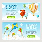 Summer Holiday Card Set. Vector