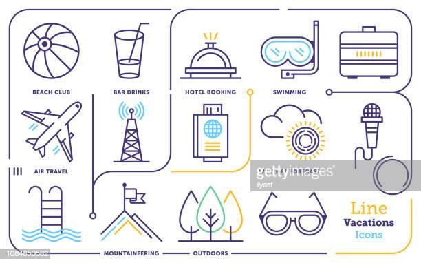 summer holiday destination activity line icon set - royal tour stock illustrations