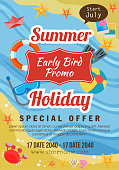 summer holiday early bird promo flat style beach theme