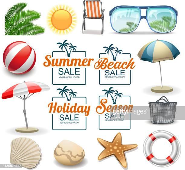 ilustrações, clipart, desenhos animados e ícones de ícones do feriado de verão - verão