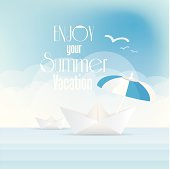 summer holiday poster with origami paper boats
