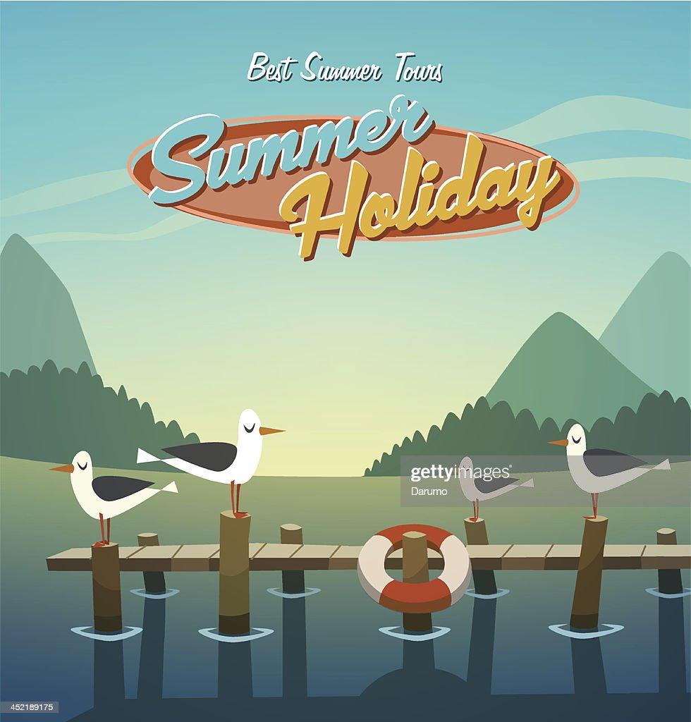 Summer holiday. Retro background