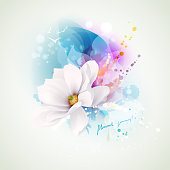 Summer holiday spirits abstract composition. Blooming white magnolia with lettering pleasant journey on the abstract watercolor blots backgrounds.