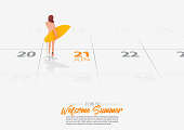 Summer Holiday. Surfer girl is standing with surfboard on the beach and looking to the sea shore. Woman holding surfboard in her hand marked date Summer season start on calendar 21th June 2019. Summer sport activity concepts. Vector.