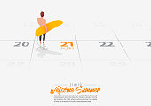 Summer Holiday. Surfer man is standing with surfboard on the beach and looking to the sea shore. Man holding surfboard in his hand marked date Summer season start on calendar 21th June 2019. Summer sport activity concepts. Vector.
