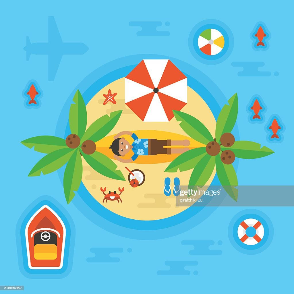 Summer holiday vacation concept with man on desert island.