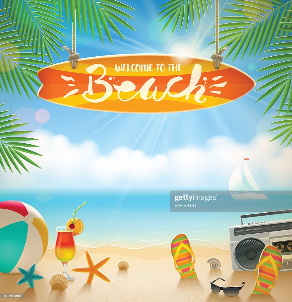 Summer holidays and beach vacation vector illustration.