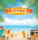 Summer holidays and beach vacation vector illustration.
