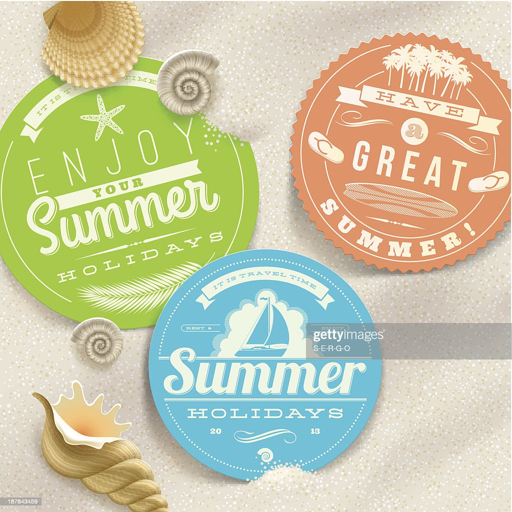 Summer holidays and travel labels
