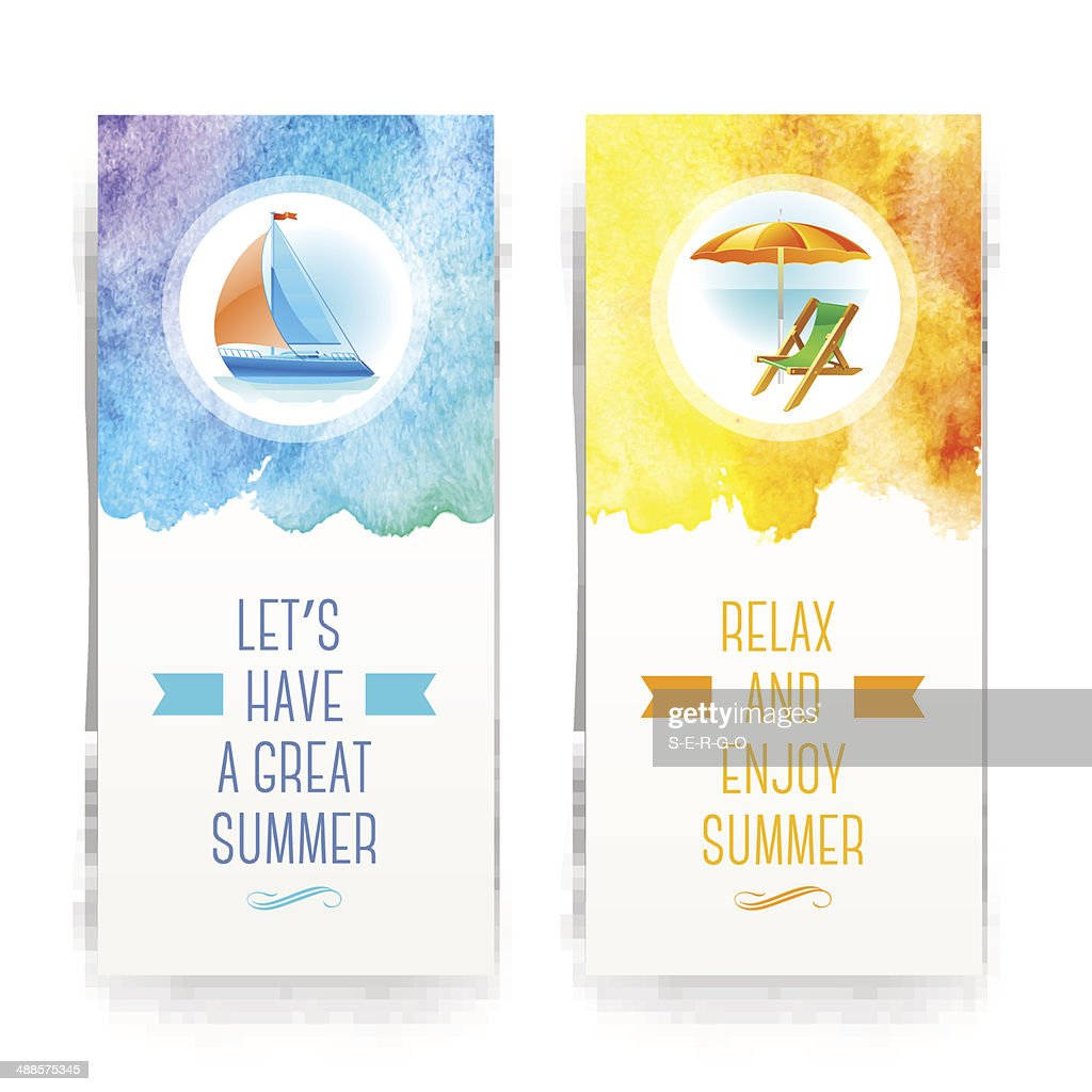 Summer holidays and vacationl banners with greetings