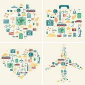 Summer holidays backgrounds collection. Holidays and Vacation concept. Travel icons. Vector