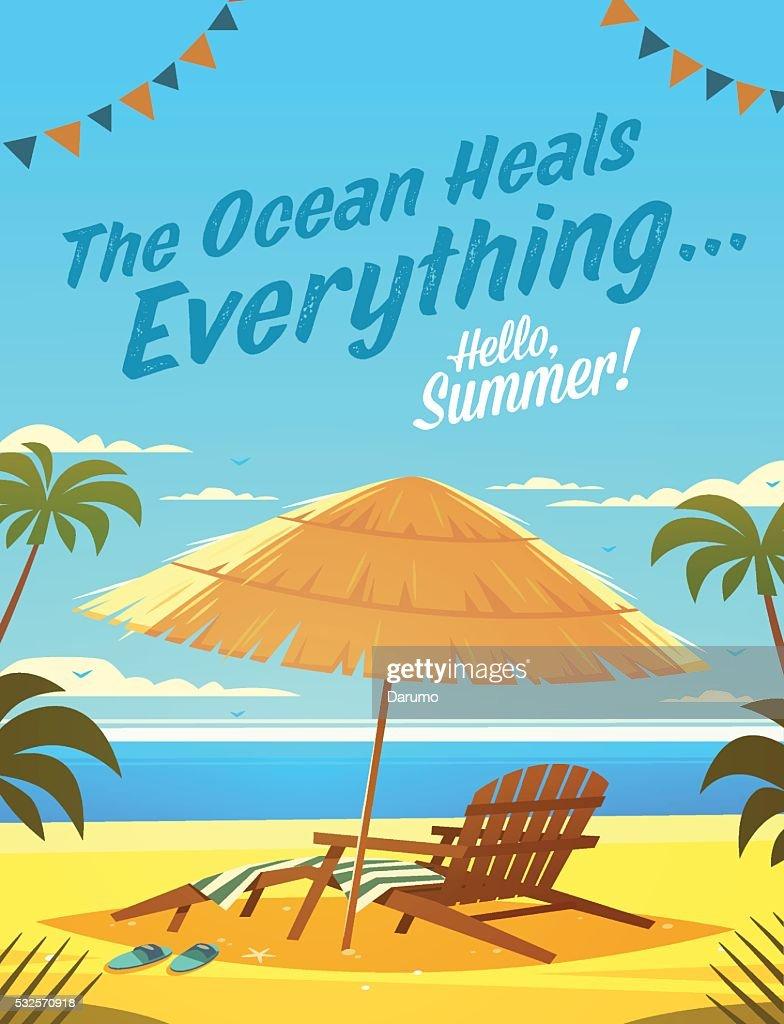 Summer Holidays. Beach resort lounge chair with umbrella.