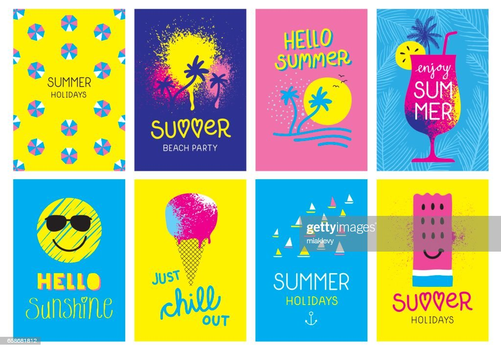 Summer holidays cards : stock vector