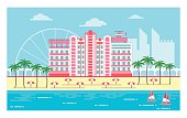 Summer holidays city with beach, palms, yachts and hotel at the beach.