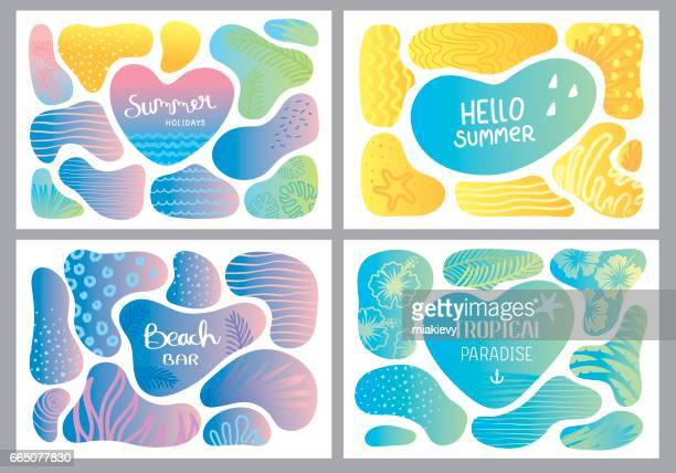 summer holidays creative cards - seascape stock illustrations, clip art, cartoons, & icons