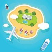summer holidays on beach vector flat style illustration