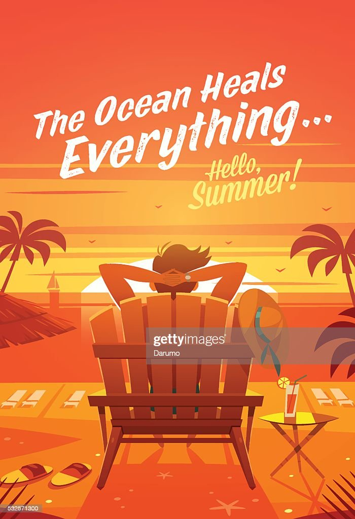 Summer Holidays. The man in a lounge chair. Sunset oceanview