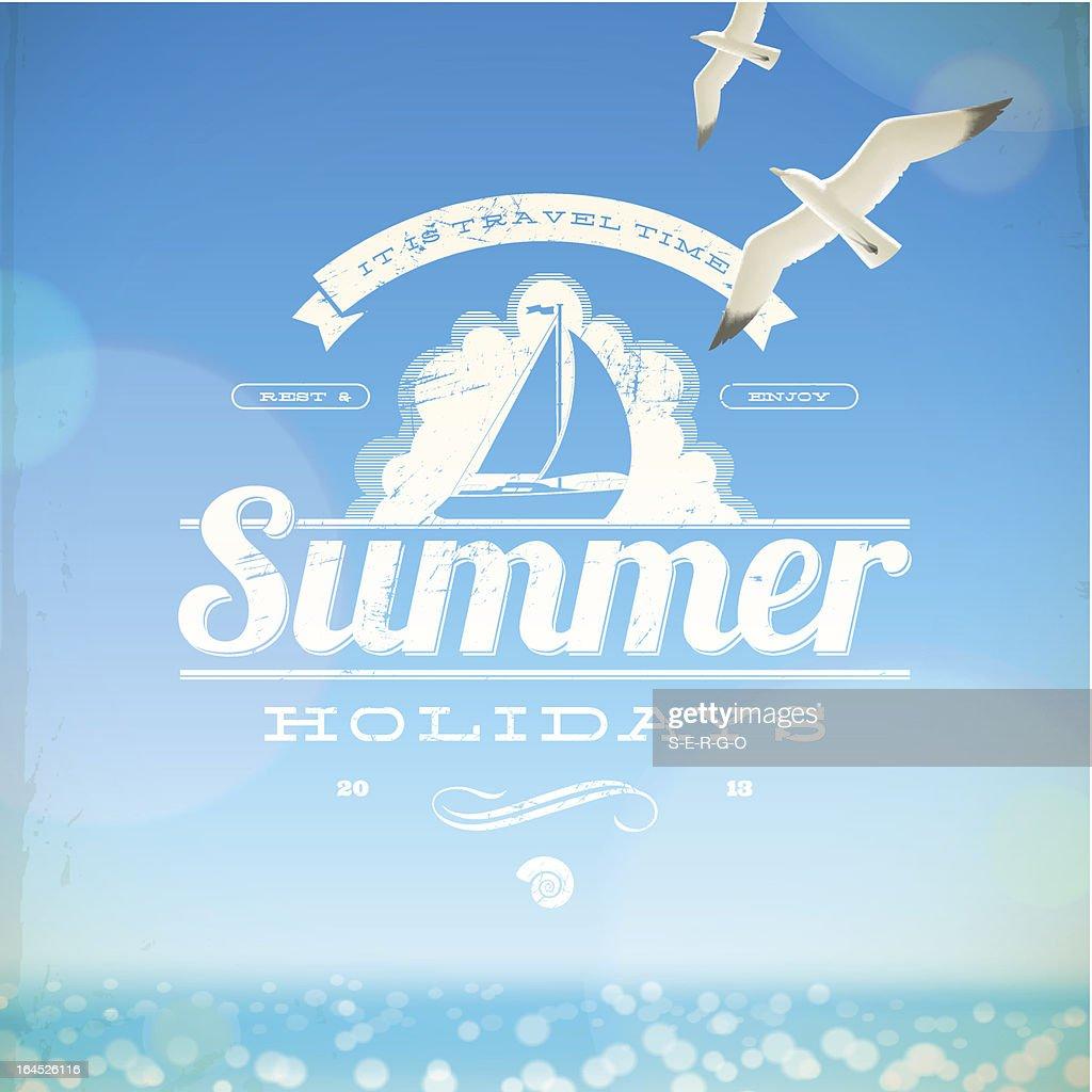 Summer holidays vector emblem