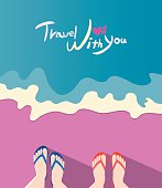 Summer holidays vector illustration,flat design couple travel concept