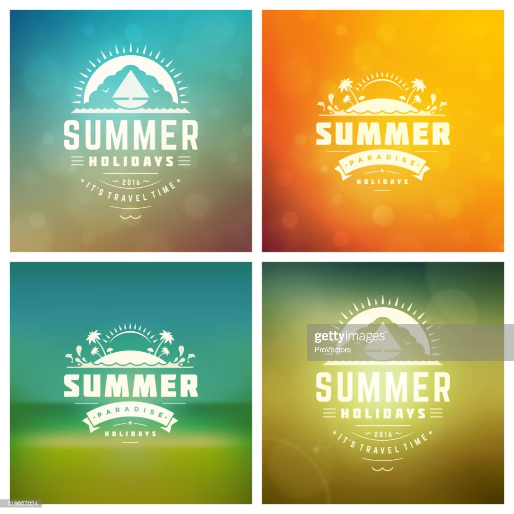 Summer Holidays Vector Retro Typography Set messages and Illustrations for
